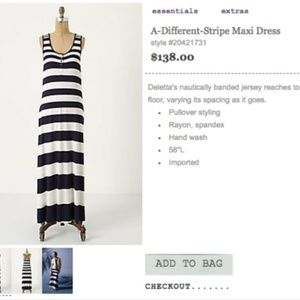 NWOT Anthropologie Deletta Maxi Dress Med. Stripe